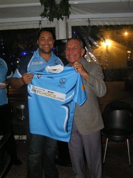 No 10, Front row forward Shanon Hardgave, is presented with his playing jumper.