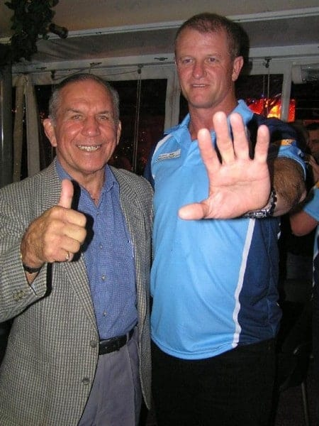Trainer Bob O'Riordon with special guest John Sattler.